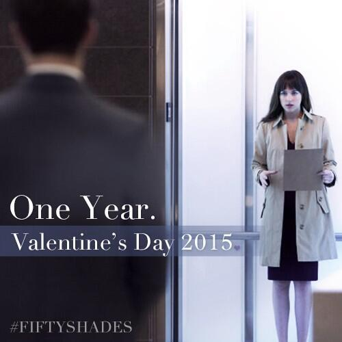 First Fifty Shades of Grey movie still with Dakota Johnson and Jamie Dornan